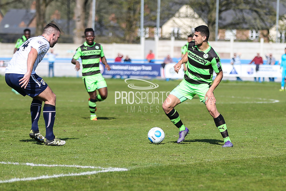 Forest Green Rovers Omar Bugiel(11) runs forward during the Vanarama National League match between Guiseley  and Forest Green Rovers at Nethermoor Park, Guiseley, United Kingdom on 8 April 2017. Photo by Shane Healey.