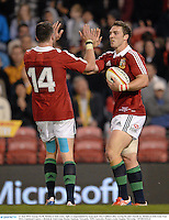 11 June 2013; George North, British & Irish Lions, right, is congratulated by team-mate Alex Cuthbert after scoring his side's fourth try. British & Irish Lions Tour 2013, Combined Country v British & Irish Lions, Hunter Stadium, Newcastle, NSW, Australia. Picture credit: Stephen McCarthy / SPORTSFILE
