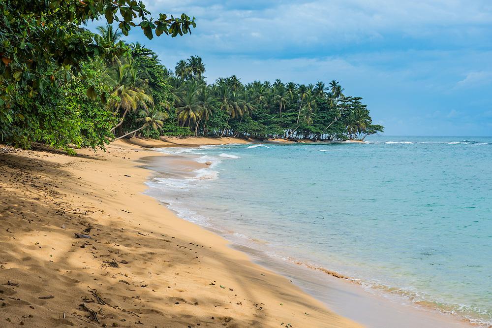 Beach Praia do Inhame, south coast of Sao Tome, Sao Tome and Principe, Atlantic ocean