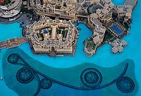UNITED ARAB EMIRATES, DUBAI - CIRCA JANUARY 2017: The Dubai Fountain and Burj Khalifa Lake as seen from the Burj Khalifa