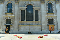 © Licensed to London News Pictures. 25/06/2020. LONDON, UK.  View of the new outdoor Prayer Garden in the courtyard of St Martin-in-the-Fields, Trafalgar Square, where all are welcome to meditate, pray and discover peace and stillness at the heart of London.  The UK government has relaxed coronavirus pandemic lockdown restrictions allowing churches and other places of worship to open for private prayer from 15 June and, in the latest change, collective worship and communal prayer will be allowed from 4 July.  Currently, many churches are offering online services to their congregations. Photo credit: Stephen Chung/LNP
