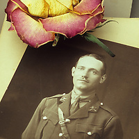 Vintage sepia photo of man in World War 2 military uniform lying with other photos and dried pink and cream rose