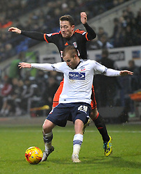 Bolton Wanderers'  Barry Bannan competes with Fulham's Ross McCormack- Photo mandatory by-line: Richard Martin-Roberts/JMP - Mobile: 07966 386802 - 10/02/2014 - SPORT - Football - Bolton - Macron Stadium - Bolton Wanderers v Fulham - Sky Bet Championship