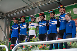 Team WNT riders pose for photos on the sign-on stage before Stage 2 of the OVO Energy Women's Tour - a 144.5 road race, starting and finishing in Stoke-on-Trent on June 8, 2017, in Staffordshire, United Kingdom. (Photo by Balint Hamvas/Velofocus.com)
