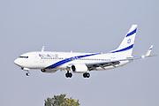 Israel, Ben-Gurion international Airport El Al Boeing 737 landing