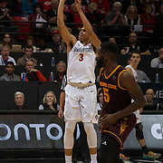 10 December 2016: The San Diego State Aztecs men's basketball team host's Saturday afternoon at Viejas Arena. San Diego State guard Trey Kell (3) attempts a three point shot in the second half. The Aztecs fell to the Sun Devils 74-63. www.sdsuaztecphotos.com