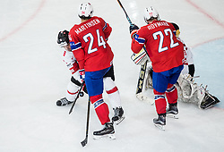 Raphael Diaz of Switzerland vs Andreas Martinsen of Norway during the 2017 IIHF Men's World Championship group B Ice hockey match between National Teams of Norway and Switzerland, on May 7, 2017 in Accorhotels Arena in Paris, France. Photo by Vid Ponikvar / Sportida