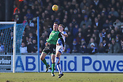 Scunthorpe United  Tom Hopper (14) heads the ball clear during the EFL Sky Bet League 1 match between Bristol Rovers and Scunthorpe United at the Memorial Stadium, Bristol, England on 24 February 2018. Picture by Gary Learmonth.
