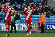Jelle Vossen of Middlesbrough (right) celebrates scoring the opening goal against Millwall during the Sky Bet Championship match at The Den, London<br /> Picture by David Horn/Focus Images Ltd +44 7545 970036<br /> 06/12/2014