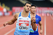 Adam Gemili (GBR) after winning his heat of the men's 100m in a time of 10.08 during the Birmingham Grand Prix, Sunday, Aug 18, 2019, in Birmingham, United Kingdom. (Steve Flynn/Image of Sport via AP)
