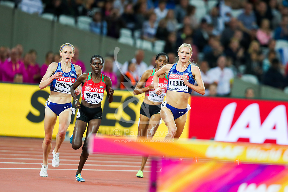 London, August 11 2017 . Emma Coburn, USA, takes the lead in the women's 3000m steeplechase final on day eight of the IAAF London 2017 world Championships at the London Stadium. © Paul Davey.
