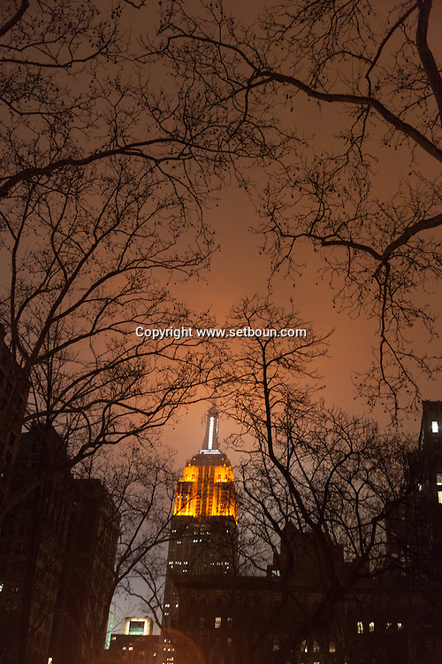 New York. The empire state building at night . 23rd street and fifth avenue .