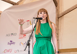 © Licensed to London News Pictures. 21/07/2019; Tolpuddle, Dorset, UK. ANGELA RAYNER, Shadow Cabinet as Shadow Secretary of State for Education, speaks on the main stage at the Tolpuddle Martyrs Festival. The Tolpuddle Martyrs Festival for trade unionism, held every year, commemorates the birth of the trade union movement in the 19th century when the Tolpuddle Martyrs were transported to Australia for forming a trade union of agricultural labourers in Dorset. Photo credit: Simon Chapman/LNP.