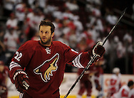 Apr 23, 2010; Glendale, AZ, USA; Phoenix Coyotes right wing Lee Stempniak (22) warms up prior to game five in the first round of the 2010 Stanley Cup Playoffs at Jobing.com Arena.  Mandatory Credit: Jennifer Stewart-US PRESSWIRE
