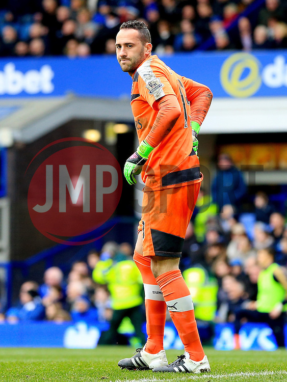 Arsenal's David Ospina holds his back after a collision with Everton's Romelu Lukaku  - Mandatory byline: Matt McNulty/JMP - 19/03/2016 - FOOTBALL - Goodison Park - Liverpool, England - Everton v Arsenal - Barclays Premier League