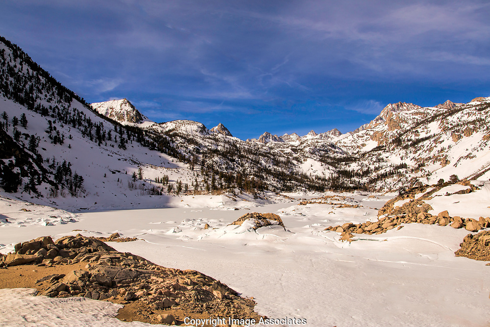 Lake Sabrina Covered in Ice Eastern Sierra