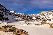 Lake Sabrina Covered in Ice Eastern Sierra