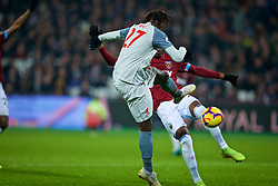 LONDON, ENGLAND - Monday, February 4, 2019: Liverpool's substitute Divock Origi sees his shot saved in with the last kick of the game during the FA Premier League match between West Ham United FC and Liverpool FC at the London Stadium. (Pic by David Rawcliffe/Propaganda)