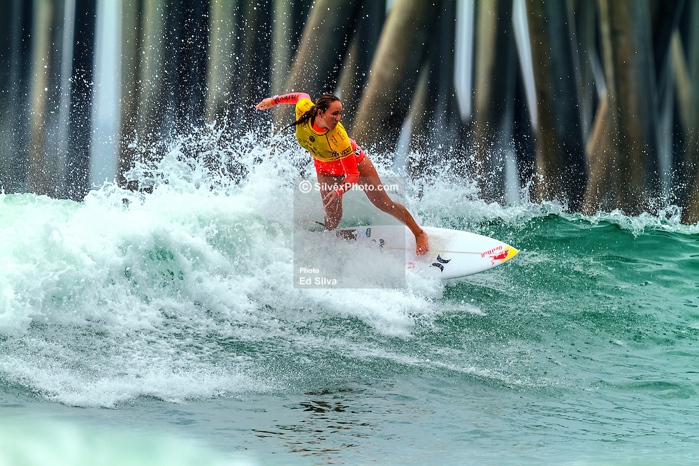 HUNTINGTON BEACH, CA - Carissa Moore surfs at the quarter finals during the 2014 Vans US Open of Surfing.  2014 Aug 2. Byline, credit, TV usage, web usage or linkback must read SILVEXPHOTO.COM. Failure to byline correctly will incur double the agreed fee. Tel: +1 714 504 6870.