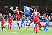 Paul Robinson defender for AFC Wimbledon (6) jumps high to head a goal to make it 1-0 during the Sky Bet League 2 match between AFC Wimbledon and Crawley Town at the Cherry Red Records Stadium, Kingston, England on 16 April 2016. Photo by Stuart Butcher.