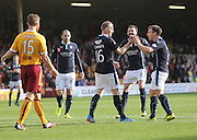 David Clarkson is congratulated by Paul McGowan and Kevin McBride after scoring for Dundee in the third minute of his return to former club Motherwell - Motherwell v Dundee, SPFL Premiership at Fir Park<br /> <br />  - &copy; David Young - www.davidyoungphoto.co.uk - email: davidyoungphoto@gmail.com