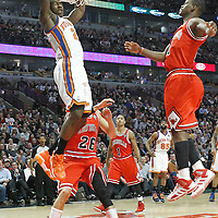 12 March 2012: New York Knicks guard Iman Shumpert (21) dunks the ball during the Chicago Bulls 104-99 victory over the New York Knicks at the United Center, Chicago, Illinois, USA.
