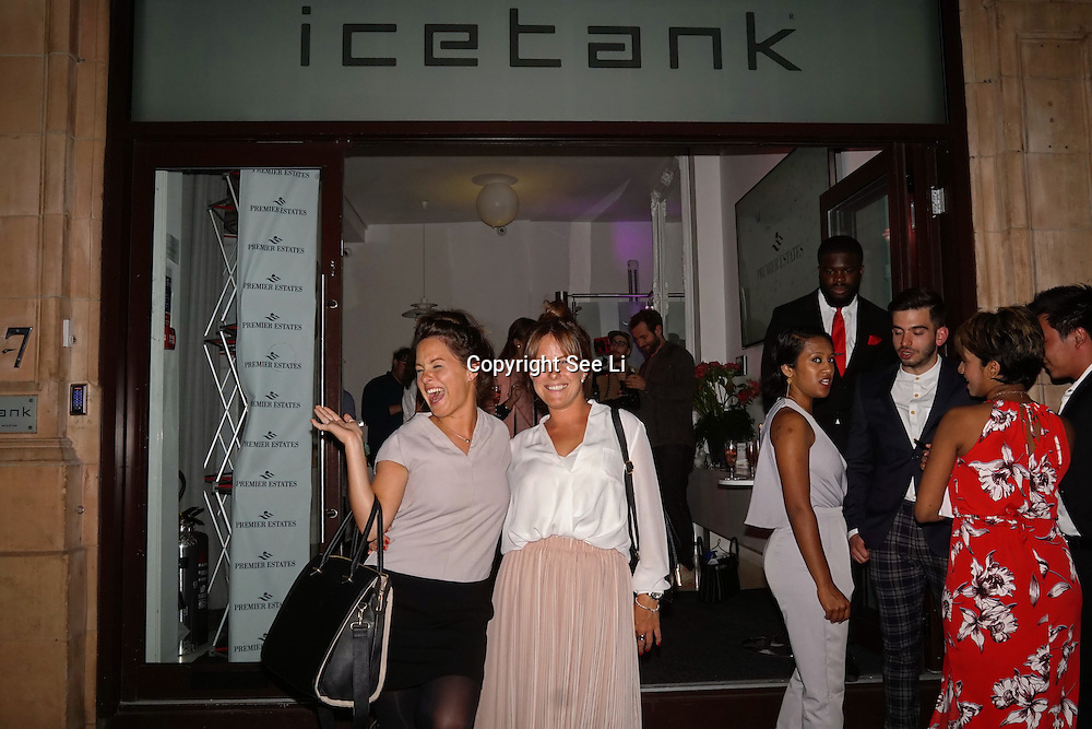 London,England,UK, 11th Aug 2016 : Twin Rose and Maria  Vincent leaving  the wine retailer hosts summer party to sample its award-winning sparkling wine range at Icetank Studios, Lo0ndon,UK. Photo by See Li