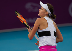 February 9, 2019 - Doha, QATAR - Veronika Kudermetova of Russia in action during qualifications at the 2019 Qatar Total Open WTA Premier tennis tournament (Credit Image: © AFP7 via ZUMA Wire)
