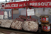 """Rennes, FRANCE. General View GV. Rennes weekly regional market. Brittany,<br /> <br /> """"Different Air Dried meats and Sausages"""", sold from stalls in the open and covered market  <br /> <br /> Saturday  26/04/2014 <br /> <br /> © Peter SPURRIER, <br /> <br /> NIKON CORPORATION  NIKON D700  f5  1/200sec  24mm  3.9MB"""