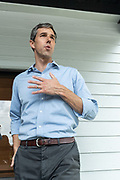 Democratic presidential hopeful Beto O'Rourke answers a question from reporters after addressing supporters at a campaign stop April 13, 2019 in Summerville, South Carolina. During the event in the suburb of Charleston, Beto picked up the endorsement of South Carolina Rep. Marvin Pendarvis.
