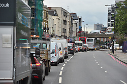 © Licensed to London News Pictures. 06/08/2015. London, UK.  Traffic Queueing on the Edgware Road entering central London on the morning of the London tube strike. Photo credit: Ben Cawthra/LNP