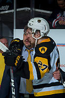 REGINA, SK - MAY 25: Robert Thomas #27 of Hamilton Bulldogs is hugged by coach John Gruden after the semi-final loss to the Regina Pats at the Brandt Centre on May 25, 2018 in Regina, Canada. (Photo by Marissa Baecker/CHL Images)