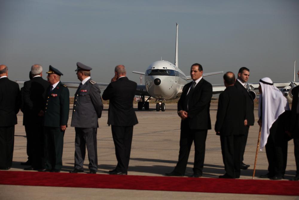 Iranian President Mahmoud Ahmadinejad's plane arrives in Beirut.