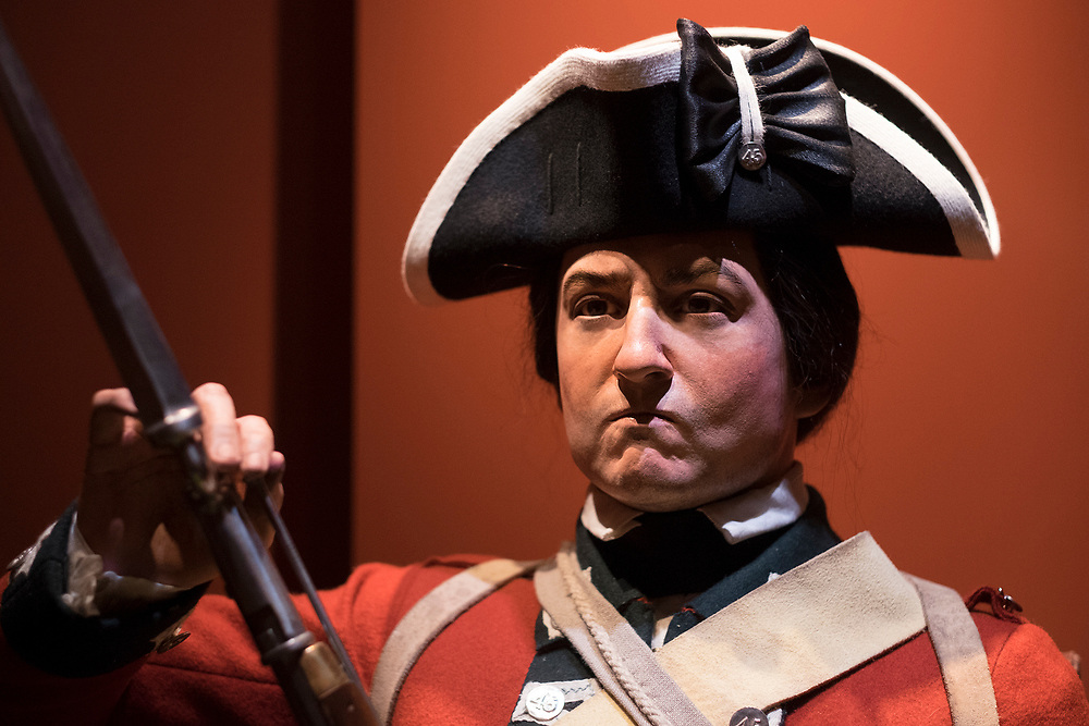 Thursday,  February 23, 2017, The Museum of the American Revolution has installed more than 15 incredibly lifelike figures in a series of historical vignettes that recreate particular moments during the American Revolution. These figures aim to personalize the wide range of people who were involved in the Revolution before the age of photography. Here, a figure of a British soldier, which represents 24-year old PrIvate William Burke of the British 45th Regiment, who arrived near New York on August 16, 1776.   ED HILLE . Staff Photographer
