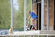 Caversham, Great Britain,  Alex PARTRIDGE, training on the bike, GB Rowing media day. GB Rowing Training centre, Caversham. Monday,  17/05/2010 [Mandatory Credit. Peter Spurrier/Intersport Images]