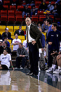 26 November 2005: A unhappy Dave Calloway, head coach of the Monmouth Hawks in their 54-62 loss to Oral Roberts University at the Great Alaska Shootout in Anchorage, Alaska