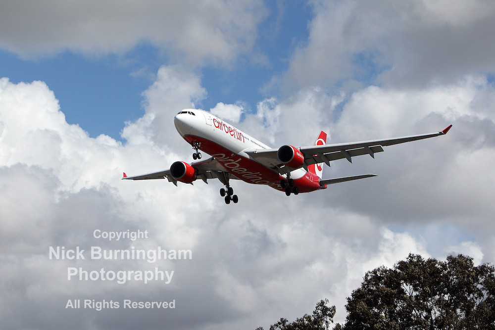 LOS ANGELES, CALIFORNIA, USA - MARCH 8, 2013 - Air Berlin Airbus A330-223 lands at Los Angeles Airport on March 8, 2013. The plane has a range of 5,900 km with 150 seats.