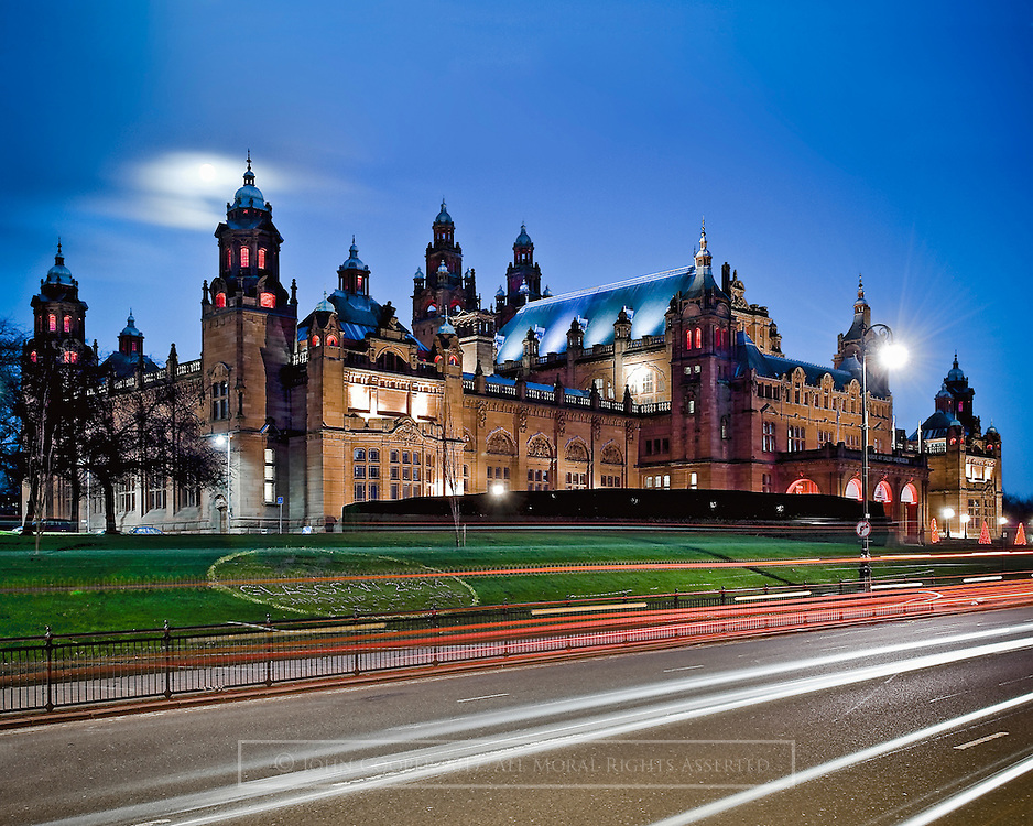 Colour photograph of Kelvingrove Art Gallery & Museum in Glasgow at Dusk. Mounted print available to purchase.
