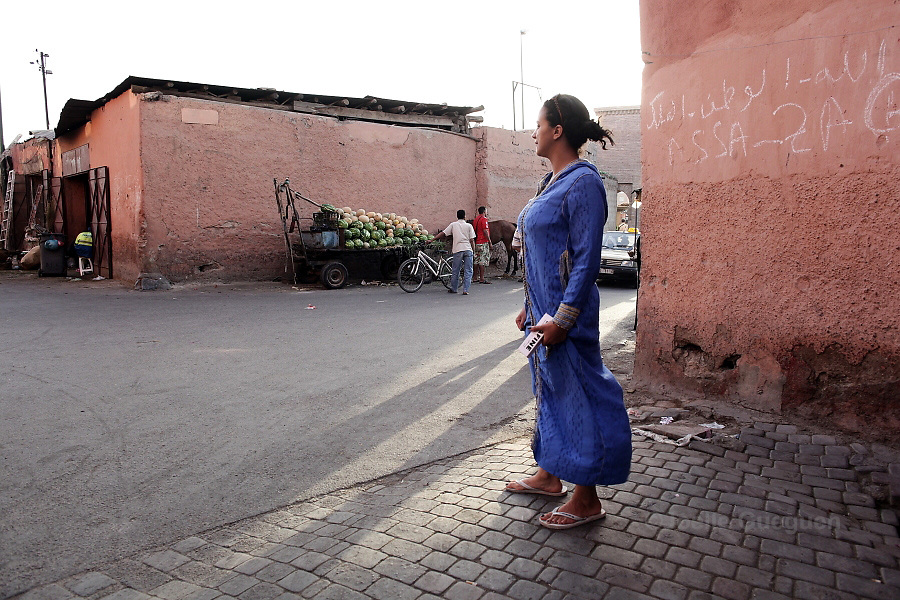 Rachida outside her mother's home where she grew up  in Bab Doukala district - Marrakech June 2013