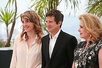 Adèle Haenel, Guillaume Canet and Catherine Deneuve at the photo call for the film L'Homme qu'on aimait trop (In the Name of My Daughter) at the 67th Cannes Film Festival, Wednesday 21st  May 2014, Cannes, France.