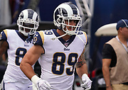 Los Angeles Rams tight end Tyler Higbee (89) runs onto the field before an NFL football game against the New Orleans Saints, Sunday, Sept. 15, 2019, in Los Angeles. The Rams defeated the Saints 27-9. (Dylan Stewart/Image of Sport)