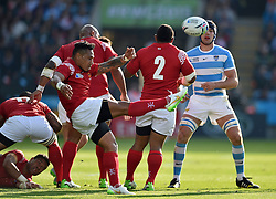 Sonatane Takulua of Tonga box-kicks the ball - Mandatory byline: Patrick Khachfe/JMP - 07966 386802 - 04/10/2015 - RUGBY UNION - Leicester City Stadium - Leicester, England - Argentina v Tonga - Rugby World Cup 2015 Pool C.
