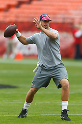 Oct 9, 2011; San Francisco, CA, USA; San Francisco 49ers quarterback Alex Smith (11) warms up before the game against the Tampa Bay Buccaneers at Candlestick Park. Mandatory Credit: Jason O. Watson-US PRESSWIRE