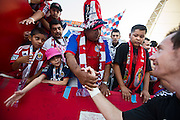 Chivas USA goalkeeper Trevor Spangenberg greets members of the Union Ultras after the final game of the Chivas USA franchise at the StubHub Center in Carson, Calif., on Oct. 26, 2014. Chivas USA defeated the San Jose Earthquakes 1-0.