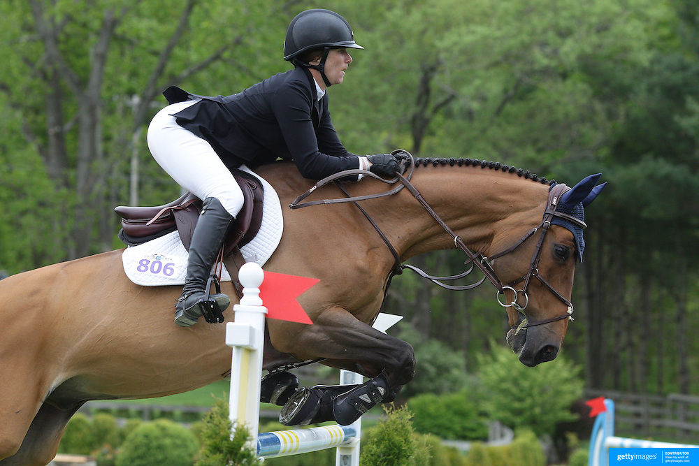 NORTH SALEM, NEW YORK - May 15: Sydney Shulman, USA, riding Lakvels, in action during The $50,000 Old Salem Farm Grand Prix presented by The Kincade Group at the Old Salem Farm Spring Horse Show on May 15, 2016 in North Salem. (Photo by Tim Clayton/Corbis via Getty Images)