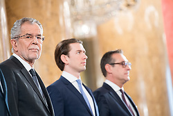 24.01.2018, Hofburg, Wien, Pyeongchang 2018, Vereidigung der Olympia-Mannschaft durch den Bundespräsidenten, im Bild Bundespräsident Alexander Van der Bellen, Bundeskanzler Sebastian Kurz (ÖVP) und Vizekanzler Heinz-Christian Strache (FPÖ) // federal president of Austria Alexander Van der Bellen, Austrian Federal Chancellor Sebastian Kurz and Austrian Vice Chancellor Heinz-Christian Strache during the swearing-in of the Austrian National Olympic Committee for Pyeongchang 2018 at Hofburg in Vienna, Austria on 2018/01/24, EXPA Pictures © 2018 PhotoCredit: EXPA/ Michael Gruber