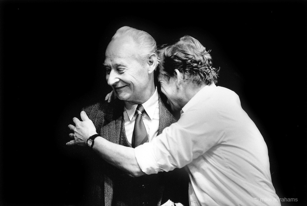 Vaclav Havel and Alexander Dubcek embrace as news comes through of the resignation of the majority of the Czech Praesidium. The Magic Lantern Theatre. Prague. Czechoslovakia. 24th November 1989