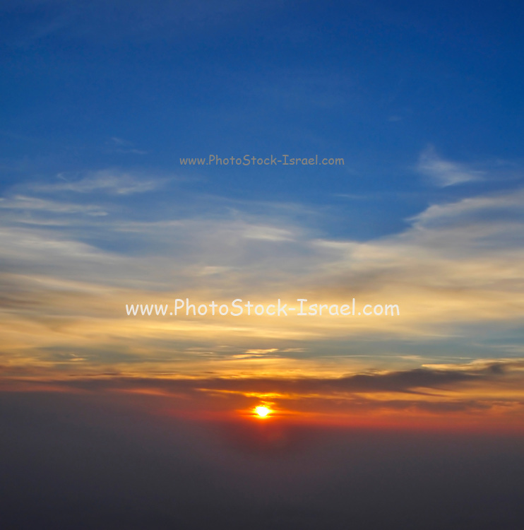 Sun Set as seen from Tiger Hill, Darjeeling, West Bengal, India