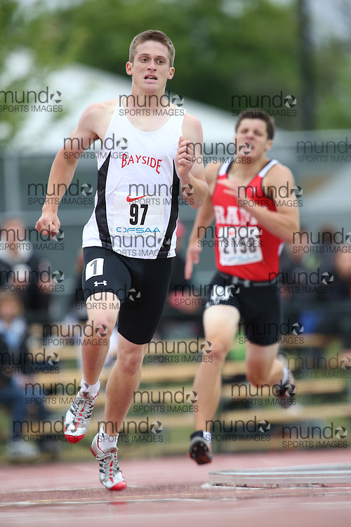 James Nicholas of Bayside SS - Belleville competes in the 800m heats at the 2013 OFSAA Track and Field Championship in Oshawa Ontario, Thursday,  June 6, 2013.<br /> Mundo Sport Images / Sean Burges