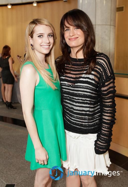 """BEVERLY HILLS, CA - JUNE 06:  Emma Roberts and Elizabeth Reaser attend a Fox Searchlight screening Of """"The Art Of Getting By"""" at Clarity Theater on June 6, 2011 in Beverly Hills, California.  (Photo by Todd Williamson/WireImage)"""